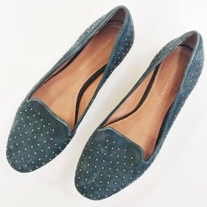 Rebecca Minkoff   teal and gold studded flats
